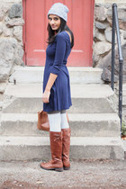 blue Forever 21 dress - brown leather Vince Camuto boots - beanie Gap hat