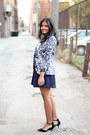 Printed-h-m-blazer-navy-forever-21-skirt-polka-dots-gap-top