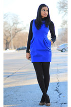 royal blue Zara dress - black Gap tights - turtleneck Old Navy top