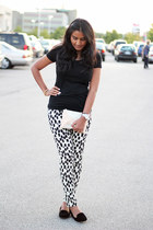black Target t-shirt - loafers Zara shoes - clutch Zara bag - spotted H&M pants