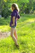 purple Flutterbye blouse - blue Piper & Blue shorts - brown Nine West boots - go