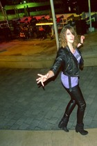 black Charlotte Russe jacket - black I Love Ronson for JC Penney pants - purple