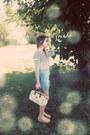 Eggshell-vintage-pierre-cardin-bag-sky-blue-denim-button-bdg-skirt