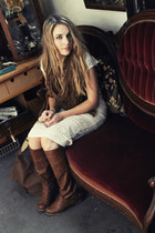 leather Aldo boots - lace mid Urban Outfitters dress