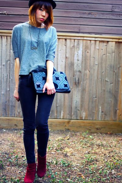 black fedora Pop hat - charcoal gray Forever 21 shirt - clutch vintage purse - l
