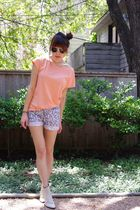 orange BDG top - blue thrifted shorts - beige vintage from etsy boots - gold Urb