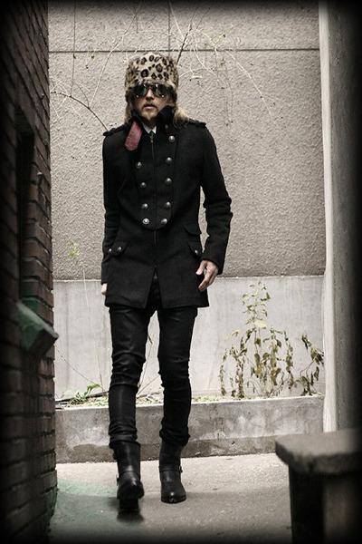 leopard hat hat - black coat coat