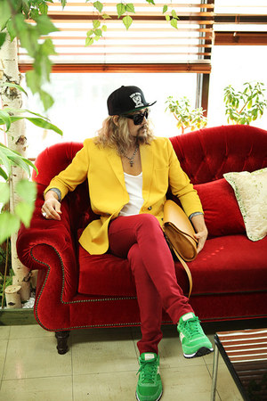 yellow coat blazer - red pants pants