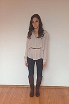 gray H&M jeans - crimson Cadenzza boots - peach H&M shirt - mustard H&M necklace