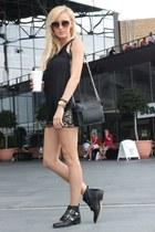 Stradivarius blouse - Stradivarius boots - Zara bag - Sheinside shorts