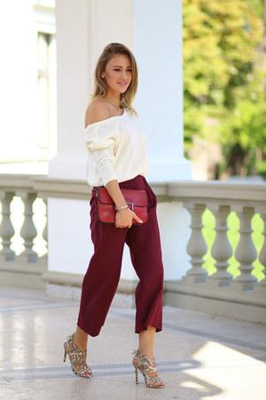 Choies sweater - Mango bag - Topshop sandals - Roberta Biagi pants