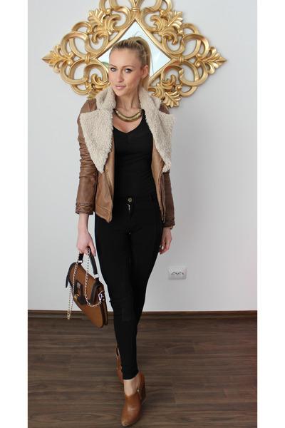 Zara jacket - Zara boots - Zara pants - H&M blouse