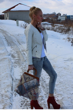 Jeffrey Campbell boots - vintage jeans - leather jacket Zara jacket