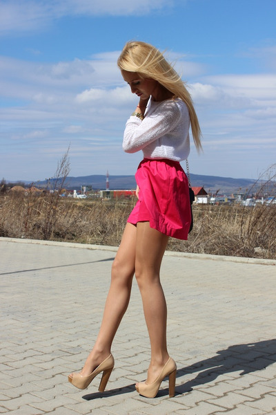Stradivarius skirt - H&M sweater - Bershka heels