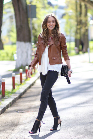 Zara jeans - Sheinsidecom jacket - Sheinsidecom top - Schutz heels