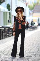Mango boots - Mango jeans - Boohoo hat - romwe blouse