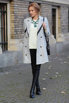 Sheinsidecom coat - Mart of China boots - romwe sweater - Romwecom bag