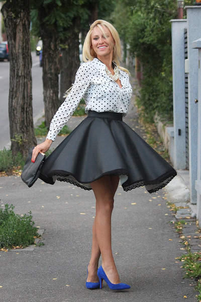 alina galu on FB skirt - Sheinside shirt - PERSUNMALL heels