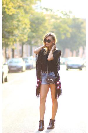 romwe boots - dvf bag - Choies sunglasses - shein cardigan