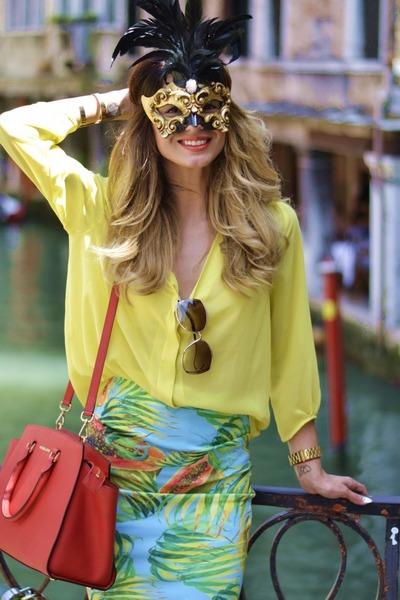 aquamarine skirt - tawny Michael Kors shoes - yellow H&M shirt