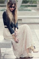 high heels boots - knitted dress - leather jacket jacket - golden cuff bracelet
