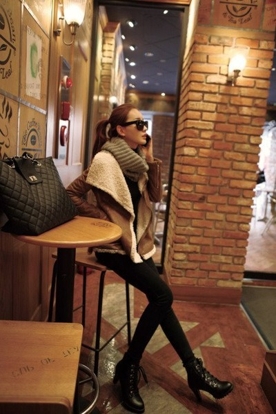 boots - shearling jacket - bag - sunglasses