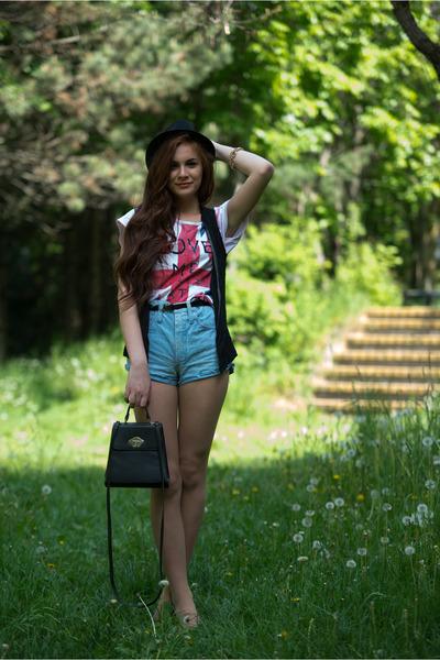 random t-shirt - cotton Bershka hat - DIY pants - Pimkie flats - H&M vest