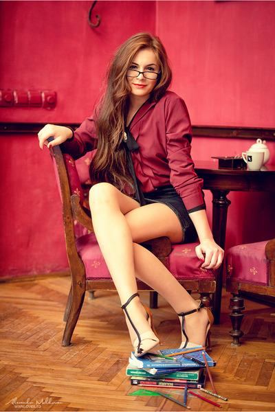 dark gray SH skirt - black Pimkie skirt - crimson H&M shirt