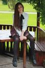 Maroon-burgundy-random-skirt-heather-gray-spikes-new-look-boots
