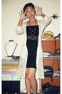 Black-mini-dress-dress-brown-belt-handmade-necklace-white-coat
