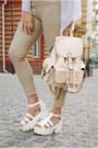 Eggshell-skinny-pull-bear-jeans-neutral-backpack-rosegal-bag