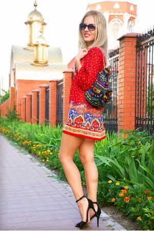 floral print Influence dress - Local store bag - sandals Zara heels