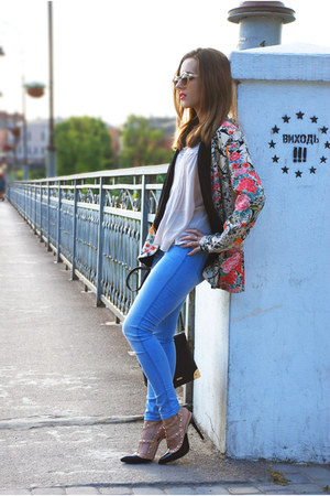 bubble gum floral print PERSUNMALL blazer