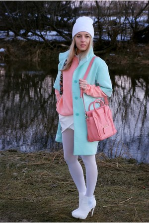 light blue pastel kira plastinina coat - coral knitted vintage sweater