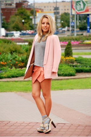 light pink reserved blazer - neutral asos bag - heather gray Chicwish socks