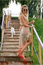 round asos sunglasses - coral Aldo heels - DIY skirt