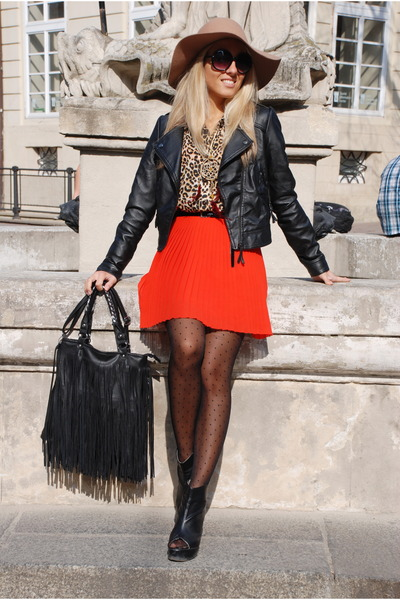 fringe bag Present bag - new look hat - leather jacket Bershka jacket