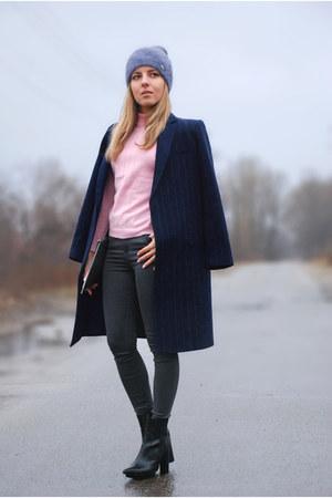 navy pinstripe Mango coat - black pointy heels Zara boots