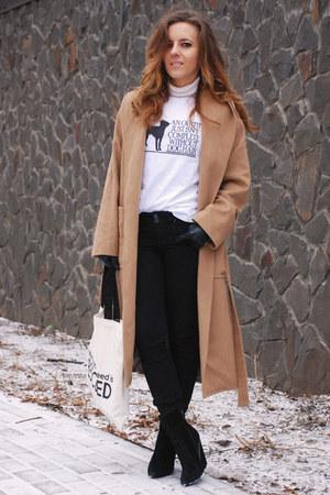 camel Mango coat - black skinny jeans Mango jeans - white SnapMade shirt