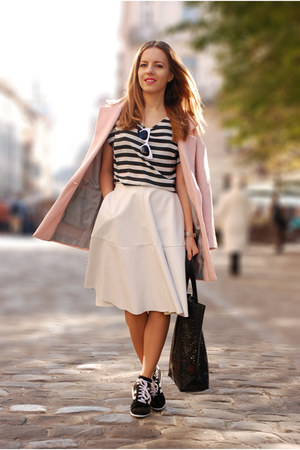 black striped OASAP shirt - light pink cocoon River Island coat - black asos bag