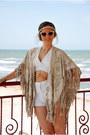 White-shorts-nude-asos-sunglasses-white-diy-top-beige-choies-cape