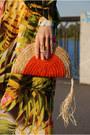 Carrot-orange-palm-print-sheinside-dress