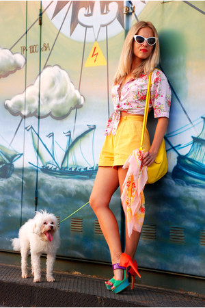 yellow high waisted vintage shorts - light pink self-tied vintage blouse