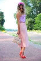 pink flower crown DIY hair accessory - peach next bag - light pink vintage skirt