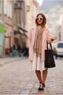 Light-pink-cocoon-river-island-coat-black-striped-oasap-shirt-black-asos-bag