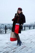 black asos boots - black kira plastinina coat - red plaid vintage hat