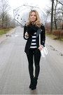 Black-sheinside-jacket-white-diy-earrings