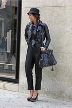 black H&M suit - blue uh-la-la necklace - black pittarello shoes - black local m