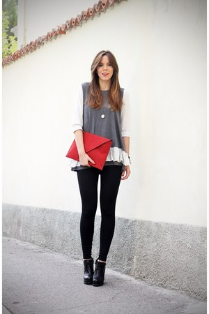 black Buffalo busra shoes - black Calzedonia leggings - red Verdementa bag