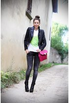 hot pink bvulgari bag - black Jeffrey Campbell shoes - gray Guess jeans